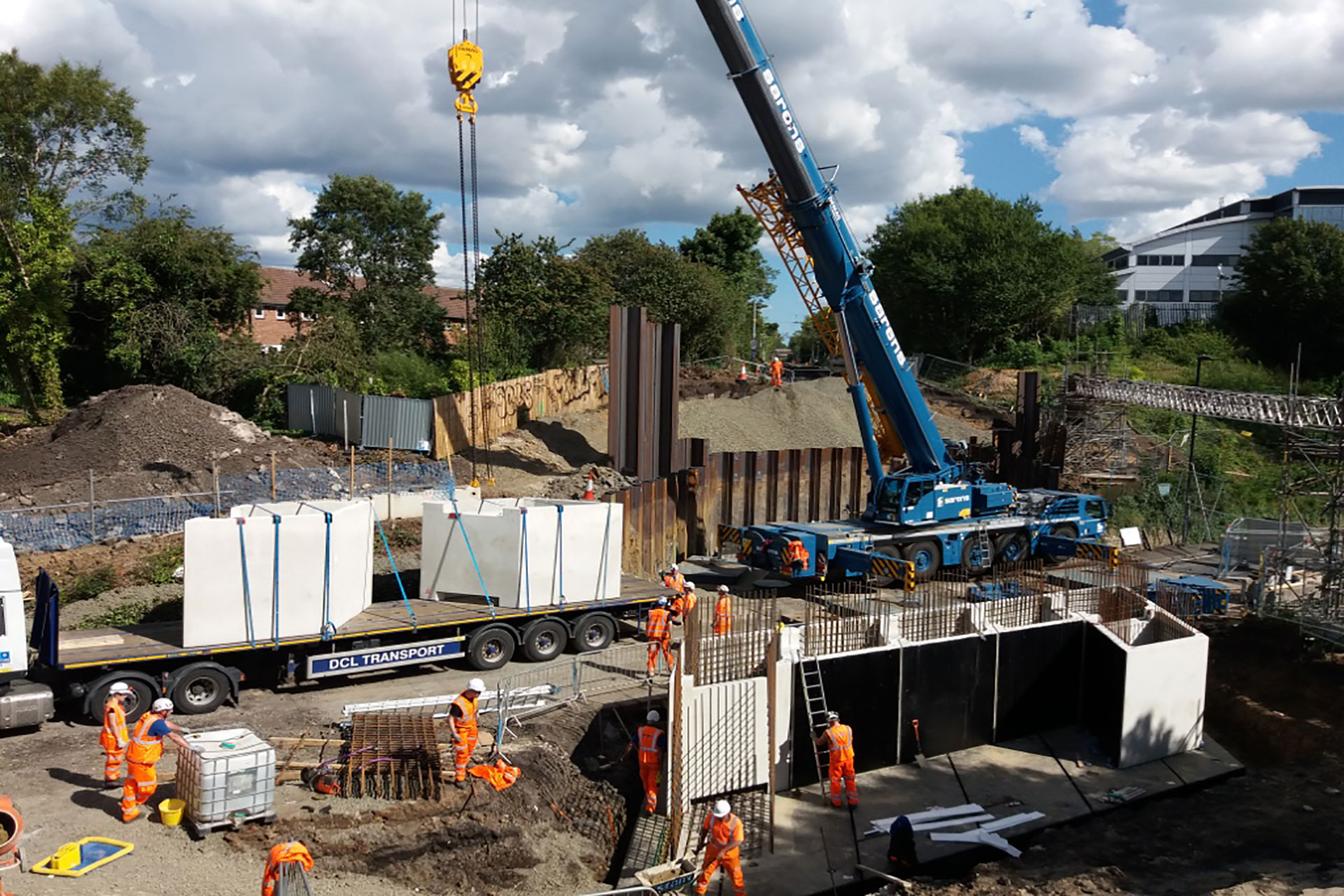Cill & Ballast Units Lifted into Position Killingworth Story Contracting Moore Concrete
